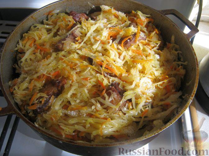 Рецепт тушеной свинины с картошкой и капустой