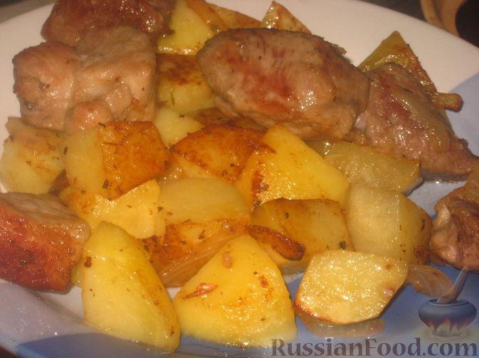 свинина с картошкой тушеная на сковороде рецепт с фото