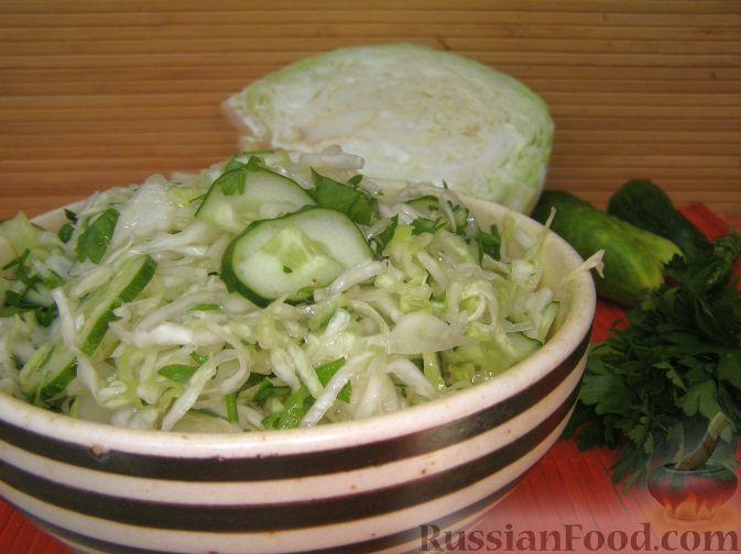 Рецепт Салат из капусты с огурцами и зеленью