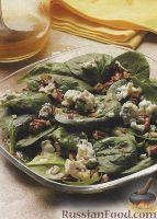 Фото к рецепту: Салат из шпината с сыром и орехами