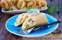Фото к рецепту: Блины с рубленой селедкой и яйцом