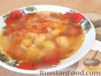 Фото к рецепту: Куриный суп со сладким перцем и помидорами