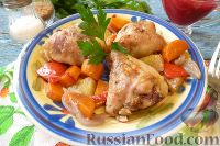 Фото к рецепту: Куриные голени, фаршированные брусникой с орехами