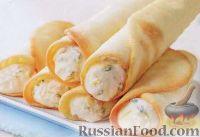 Фото к рецепту: Миндальные трубочки с кремом из рикотты и базиликом