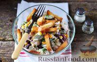 Фото к рецепту: Салат с курицей, фасолью и сыром
