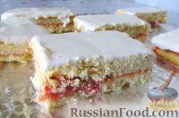 Фото к рецепту: Песочное пирожное с малиновым джемом