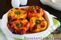 Фото к рецепту: Перцы, фаршированные шампиньонами