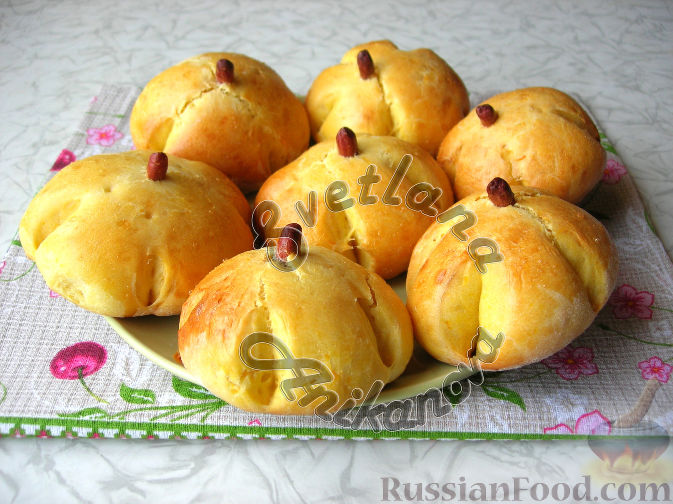 Фото приготовления рецепта: Булочки-тыковки - шаг №6