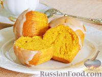 Фото к рецепту: Тыквенные кексы с лимонной глазурью