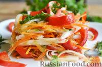 Фото к рецепту: Острый салат с крабовыми палочками и овощами