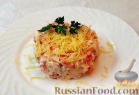 Фото к рецепту: Салат с крабовыми палочками, помидорами и сыром