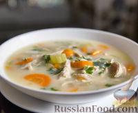 Фото к рецепту: Куриный суп с рисом и лимоном