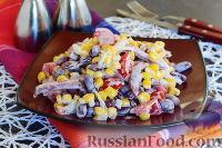 Фото к рецепту: Салат с фасолью и колбасой