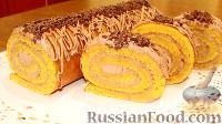 Фото к рецепту: Тыквенный рулет с шоколадной начинкой