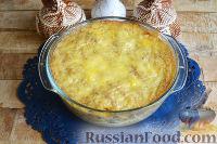 Фото к рецепту: Запеканка с овощами, колбасой и гречневыми хлопьями