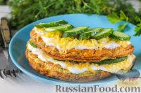 Фото к рецепту: Омлет с сыром и огурцами