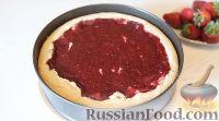 Фото к рецепту: Творожный пирог с клубничным муссом