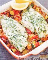 Фото к рецепту: Морской окунь с овощным рагу