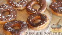 Фото к рецепту: Пончики с шоколадной глазурью