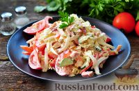 Фото к рецепту: Салат с копченой курицей, яблоками и овощами