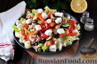 Фото к рецепту: Салат с тунцом, фасолью, фетой и овощами