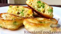Фото к рецепту: Закусочные оладьи с зеленым луком и яйцом