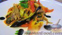 Фото к рецепту: Теплый салат с баклажанами и мясом