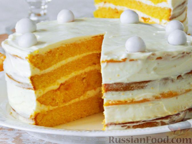 Фото приготовления рецепта: Тыквенный торт со взбитыми сливками - шаг №20
