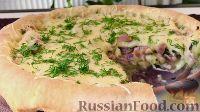 Фото к рецепту: Открытый пирог с беконом и сыром