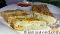 Фото к рецепту: Яичный ролл (на завтрак)