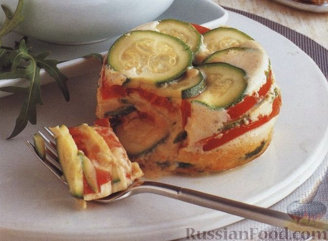 Рецепт Цуккини, запеченные с помидорами и яйцом