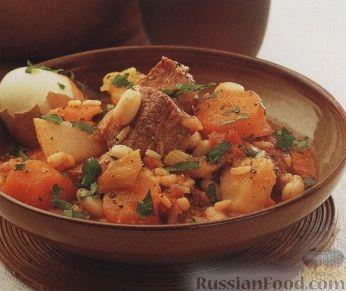 Рецепт Сборное рагу из овощей, мяса, фасоли, перловки и риса