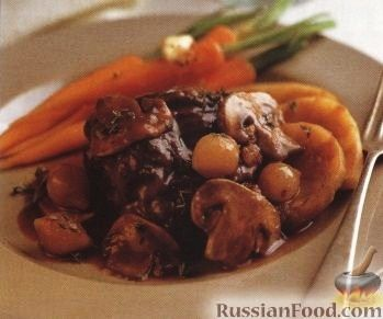 Рецепт Рагу из картофеля, мяса, лука и грибов