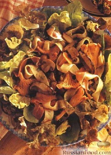 Рецепт Грибной салат с ветчиной и салатными листьями