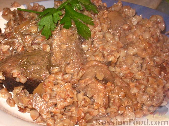 """Рецепт """"Бистро"""" - гречка с печенью и грибами"""