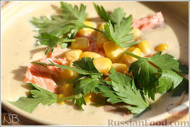 Рецепт Сливочный крем-суп-пюре с семгой
