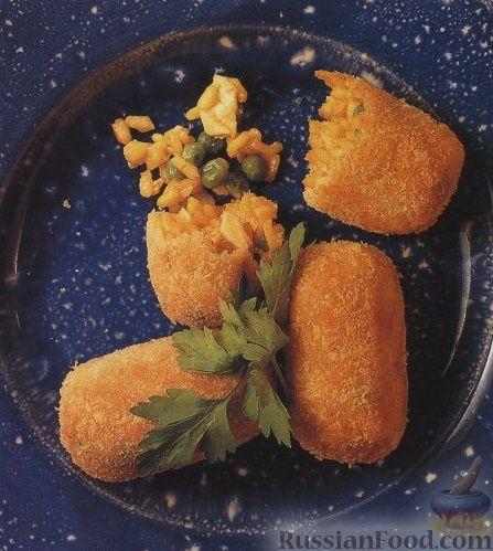 Рецепт Крокеты из риса, креветок, курятины, зеленого горошка и кукурузы