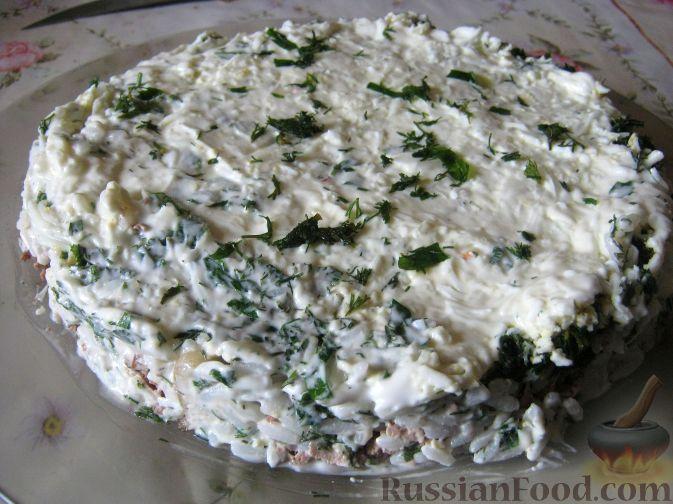 Рецепт Салат слоеный из печени