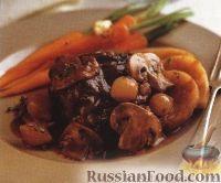 Фото к рецепту: Рагу из картофеля, мяса, лука и грибов