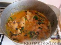 Фото к рецепту: Курица тушеная в томатно-грибном соусе