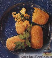 Фото к рецепту: Крокеты из риса, креветок, курятины, зеленого горошка и кукурузы