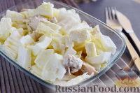 Фото к рецепту: Салат с курицей, пекинской капустой и фетой