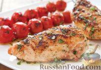 Фото к рецепту: Куриная грудка на гриле, с помидорами черри