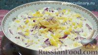 """Фото к рецепту: Слоеный салат """"Воздушный"""" с яблоком и сыром"""