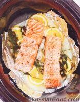 Фото к рецепту: Лосось с лимоном и укропом (в медленноварке)