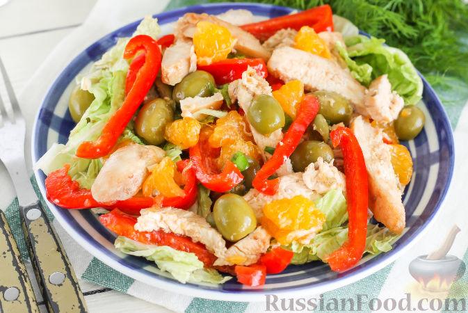 Фото к рецепту: Салат с курицей и апельсинами