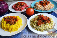 Фото к рецепту: Цветные гнезда из спагетти