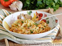 Фото к рецепту: Спагетти в тыквенном соусе с беконом