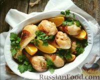 Фото к рецепту: Курица с апельсином и луком