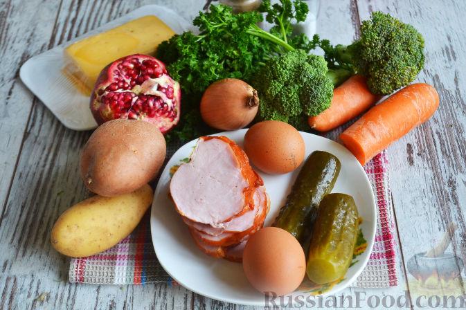 Фото приготовления рецепта: Слоеный салат «Новогодние свечи» с ветчиной - шаг №1